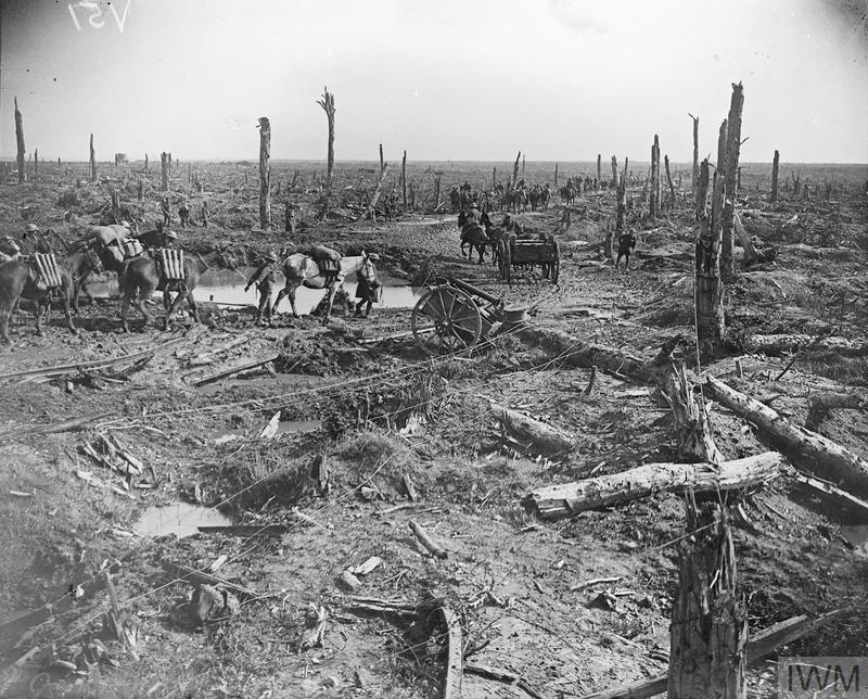 Fifth Battle of Ypres Royal Artillery limbers and pack mules of the 29th Division on the Menin Road at Hooge, 1 October 1918. Note a crater in the foreground.