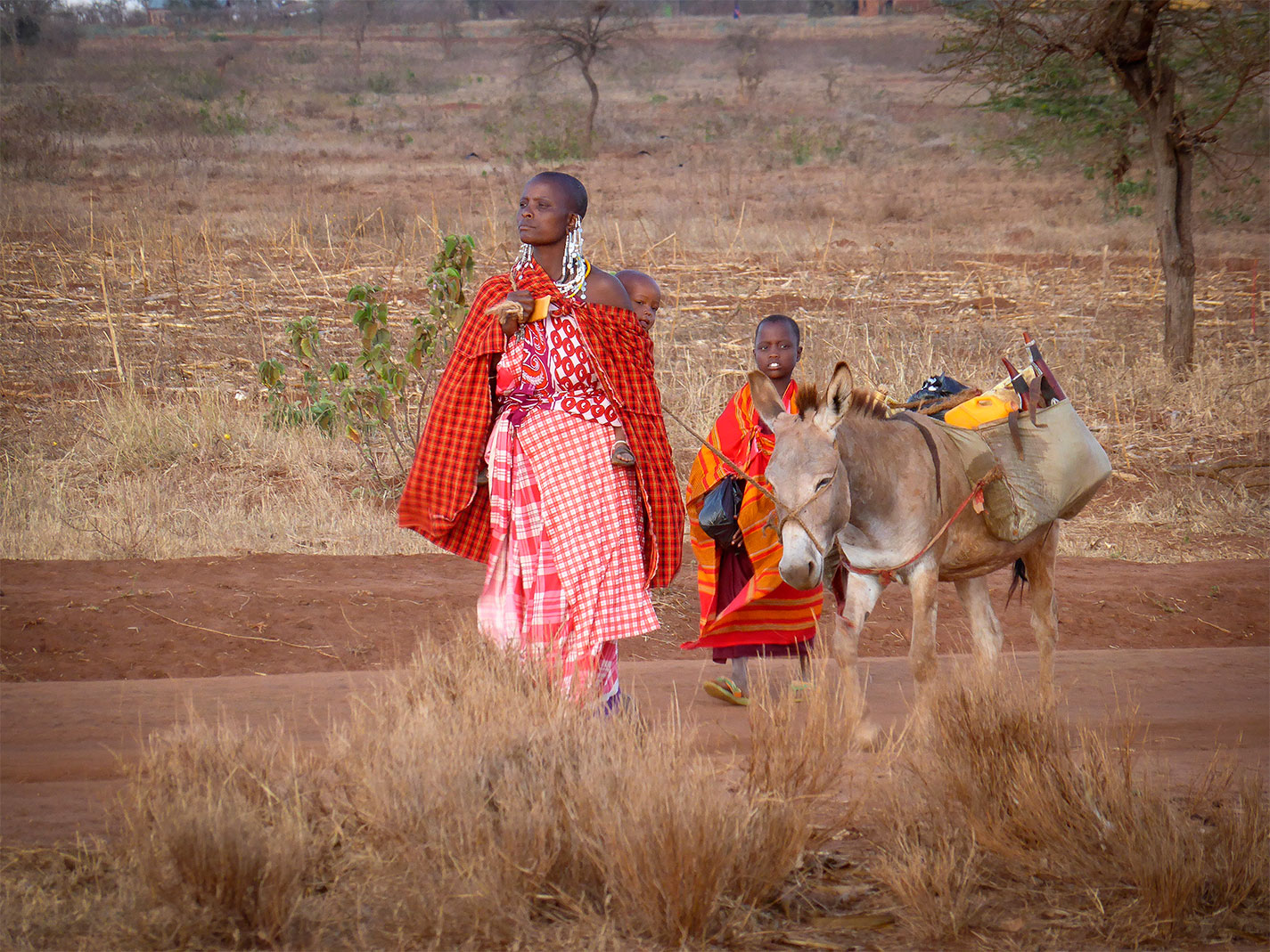 Masaai woman and children