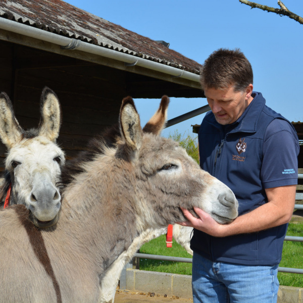 Ben Hart with Blackpool donkeys Sandy and Lucky
