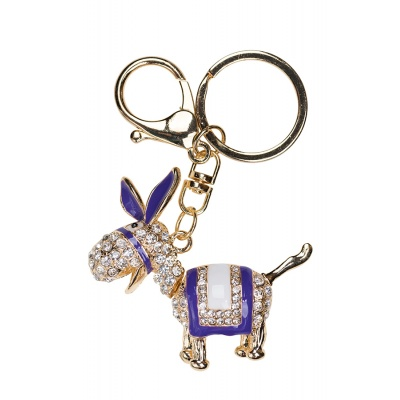 Diamante donkey keyring - purple