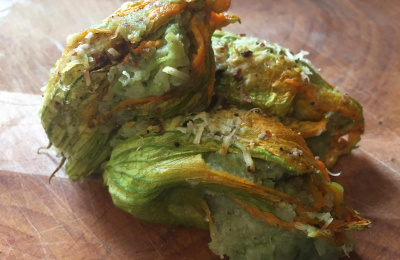 Roasted courgette flowers