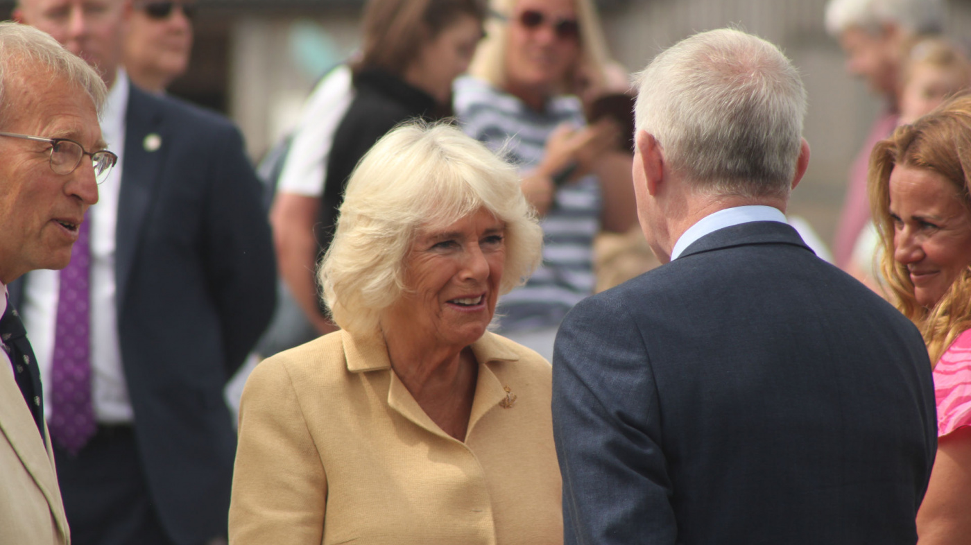 HRH the Duchess of Cornwall greeted by Mike Baker